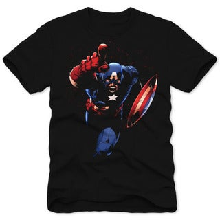 Marvel Men's Captain America Blue Cotton Crewneck Short Sleeve Tee