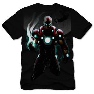 Marvel Men's Iron Man Full Gear Black Cotton Short-sleeved T-shirt