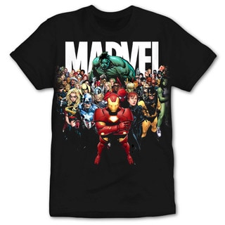 Men's Marvel Universe Black Cotton Crewneck Tee