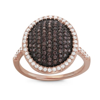 Gioelli Rose Gold over Silver Oval Pave Mocha Cubic Zirconia Ring