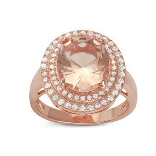 Gioelli Rose Gold over Silver Cushion-cut Synthetic Morganite Halo Engagement Ring