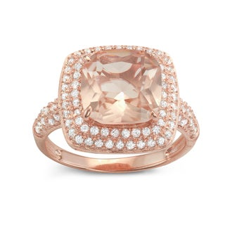 Gioelli Rose Gold over Silver Synthetic Morganite Halo Engagement Ring