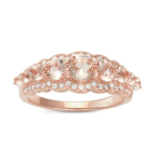 Gioelli Rose Gold over Silver Synthetic Morganite Engagement Ring