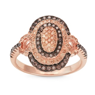 Gioelli Rose Gold over Silver Mocha and Brown Cubic Zirconia Oval Pave Ring