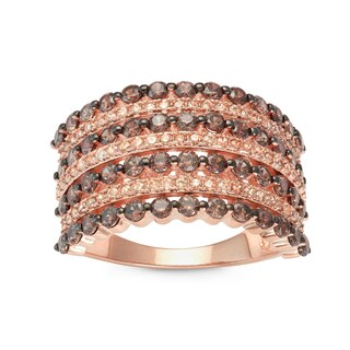Gioelli Rose Gold over Silver Mocha and Brown Cubic Zirconia Square Pave Ring
