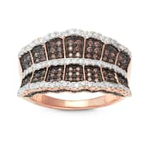 Gioelli Rose Gold over Silver Mocha Cubic Zirconia Wide Band Ring