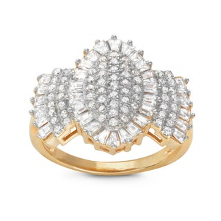 Gioelli Two-tone Silver Marquis Shape Pave Cubic Zirconia Ring (More options available)