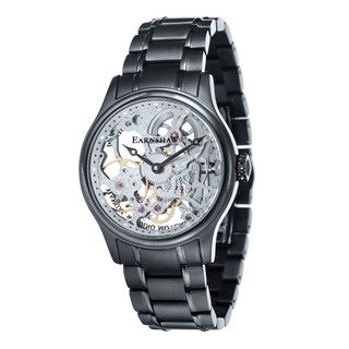 Thomas Earnshaw Men's Bauer Black-plated Mechanical Skeleton Timepiece