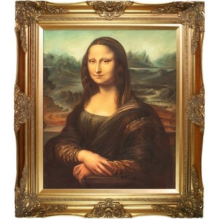 Leonardo Da Vinci 'Mona Lisa' Hand Painted Framed Canvas Art