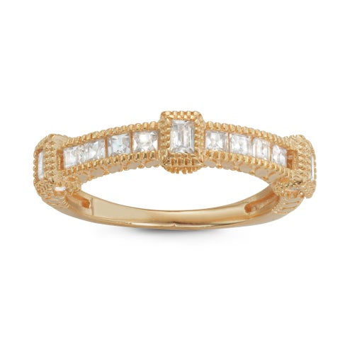 Gioelli Yellow Gold Plated Sterling Silver Emerald-cut Cubic Zirconia Milgrain Band