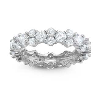 Gioelli Sterling Silver Cubic Zirconia Eternity Band Ring (3 options available)