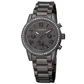 Akribos XXIV Women's Swiss Quartz Multifunction Crystal Gray Bracelet Watch