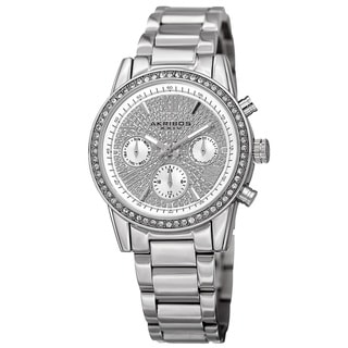 Akribos XXIV Women's Swiss Quartz Multifunction Crystal Silver-Tone Bracelet Watch