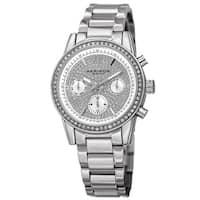 Akribos XXIV Women's Swiss Quartz Multifunction Crystal Silver-Tone Bracelet Watch with FREE Bangle