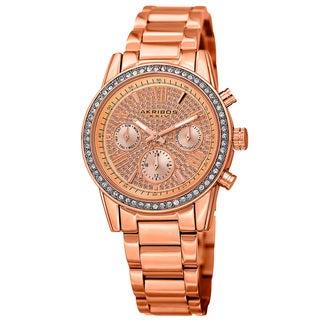 Akribos XXIV Women's Swiss Quartz Multifunction Crystal Rose-Tone Bracelet Watch