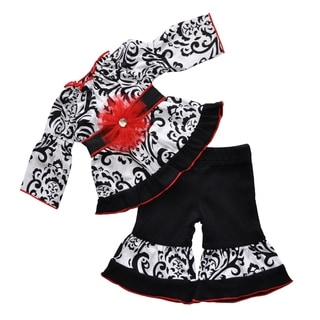 AnnLoren Dandi Damask Black & White Cotton Doll Outfit