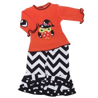 Ann Loren Black/Orange/White/Green Cotton Halloween Owl Doll Outfit for American Girl