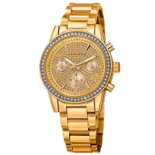 Akribos XXIV Women's Swiss Quartz Multifunction Crystal Gold-Tone Bracelet Watch