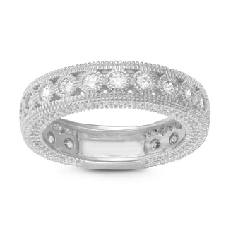 Gioelli Sterling Silver Round Cubic Zirconia Milgrain Eternity Band Ring