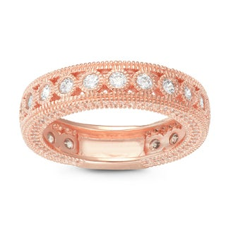 Gioelli Rose Gold over Silver Round Cubic Zirconia Milgrain Eternity Band Ring