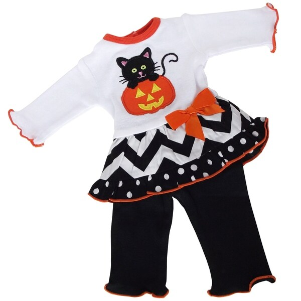 Ann Loren Kitten Pumpkin Orange/White/Black Cotton Knit Doll Outfit for American Girl