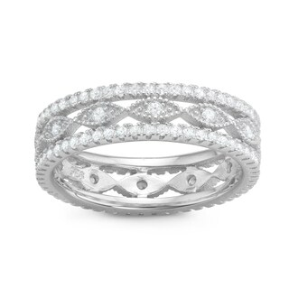 Gioelli Sterling Silver Cubic Zirconia Filigree Band Ring (5 options available)