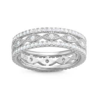 Gioelli Sterling Silver Cubic Zirconia Filigree Band Ring