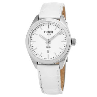 Tissot Men's T1012101603100 'PR 100' Silver Dial White Leather Strap Swiss Quartz Watch