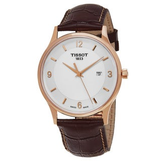 Tissot Men's T9144104601700 'T Gold' White Dial Brown Leather Strap Rose Gold Swiss Quartz Watch