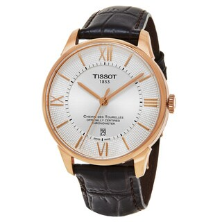 Tissot Men's T0994083603800 'T-Classic' Silver Dial Brown Leather Strap Swiss Automatic Watch