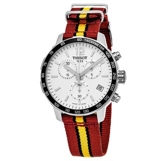 Tissot Men's T0954171703708 'Quickster' Silver Dial Red/Yellow Nylon Strap NBA Chronograph Swiss Quartz Watch