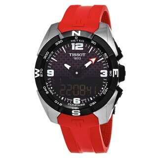 Tissot Men's T0914204705700 'T Touch Expert' Black Dial Red Rubber Strap Swiss Quartz Watch