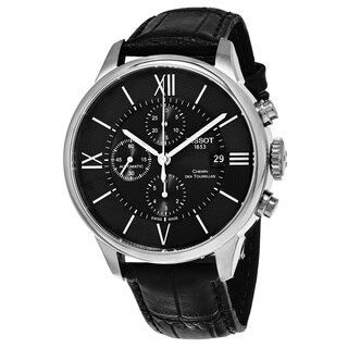 Tissot Men's T0994271605800 'Chemin des Tourelles' Black Dial Black Leather Strap Chronograph Swiss Automatic Watch