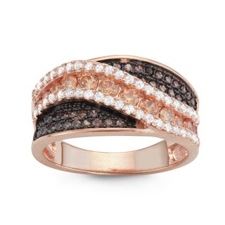 Gioelli Rose Gold over Silver Mocha and Brown Cubic Zirconia Wide Band Ring