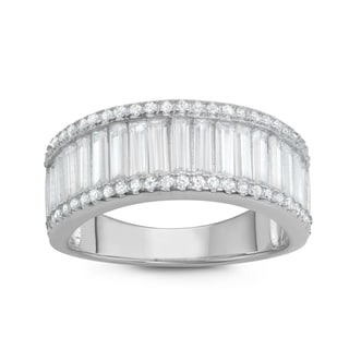 Gioelli Sterling Silver Channel-set Baguette Cubic Zirconia Band Ring