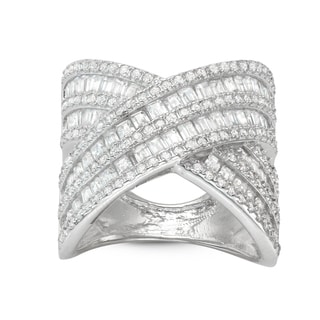 Gioelli Sterling Silver Cubic Zirconia Wide Cross Band Ring