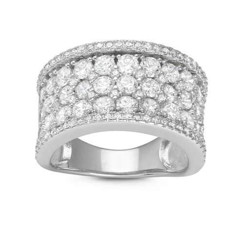 Gioelli Sterling Silver Round Pave Cubic Zirconia Wide Band Ring