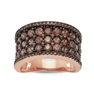 Gioelli Rose Gold over Silver Round Pave Mocha Cubic Zirconia Wide Band Ring