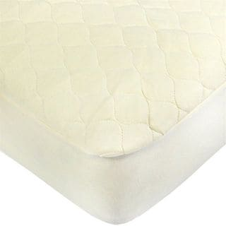 American Baby Company White Cotton Organic Quilted Portable Crib Pad Cover