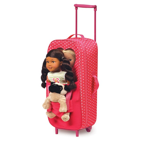 Badger Basket Pink Double Star Pattern Doll Carrier With Trolley, Plush Friend Harness, Sleeping Bag and Pillow