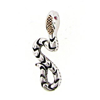 Meredith Leigh Sterling Silver with 14-karat Yellow Gold Trim Garnet Snake Pendant