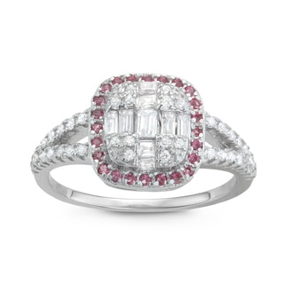 Gioelli Sterling Silver Pink Cubic Zirconia Pave Bridal-style Ring
