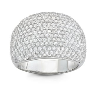 Gioelli Sterling Silver Cubic Zirconia Dome Pave Wide Band Ring (More options available)
