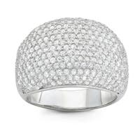 Gioelli Sterling Silver Cubic Zirconia Dome Pave Wide Band Ring