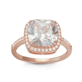 Gioelli Rose Gold over Silver Halo Princess Cubic Zirconia Bridal-style Ring