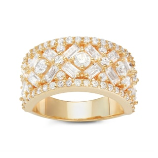 Gioelli Yellow Gold Plated Sterling Silver Emerald-cut and Round Cubic Zirconia Wide Band Ring