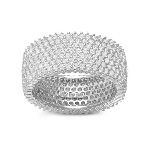 Gioelli Sterling Silver Cubic Zirconia Pave Wide Band Ring
