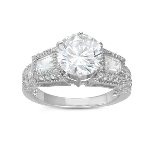Gioelli Sterling Silver 3-stone Round and Emerald-cut Cubic Zirconia Engagement Ring