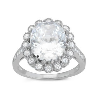 Gioelli Sterling Silver Oval Halo Cubic Zirconia Engagement Ring