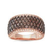 Gioelli Rose Gold over Silver Mocha Cubic Zirconia Pave Cocktail Ring